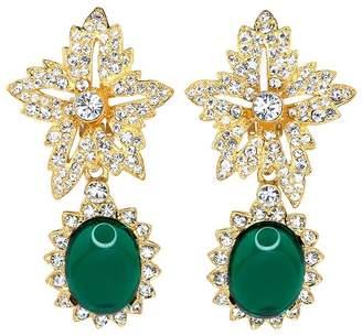 Kenneth Jay Lane Gold Crystal Flower Top Emerald Cab Drop Clip Earrings
