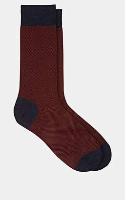 Barneys New York MEN'S MINI CHECK WOOL-BLEND MID-CALF SOCKS - RED