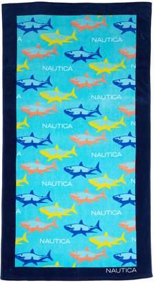 Nautica Shark Attack Aqua Beach Towel - 35x66