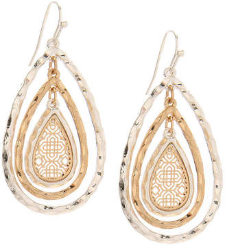 Crown Vintage Hammerd Filigree Teardrop Drop Earrings - Women's