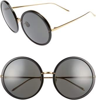 Linda Farrow 61mm Round 18 Karat Gold Trim Sunglasses