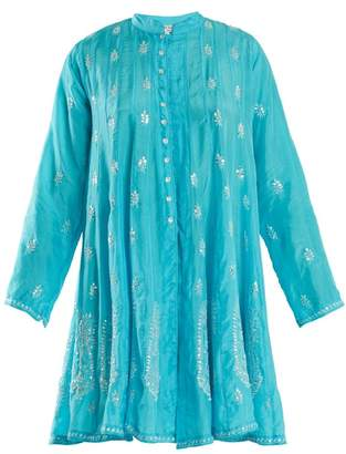 Juliet Dunn Sequin Embellished Silk Dress - Womens - Blue