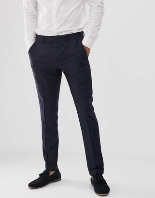 Farah Smart Henderson skinny fit pinstripe pants in navy