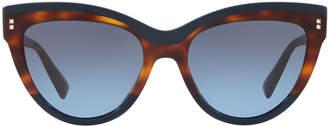 Valentino Rockstud Rivet Two-Tone Cat-Eye Sunglasses