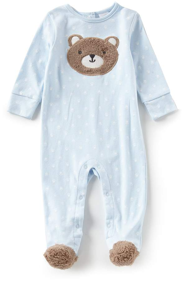 Starting Out Baby Boys Newborn-6 Months Bear Face Long Sleeve Footed Coveralls