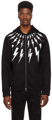 Neil Barrett Black Lightning Bolt Zip Hoodie