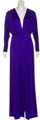 Halston V- Neck Maxi Dress