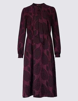 Marks and Spencer Jacquard Print Long Sleeve Shift Midi Dress