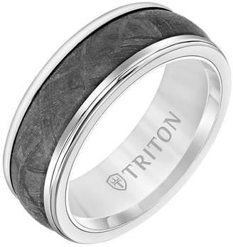 Triton 8MM White Tungsten Carbide Ring with Meteorite