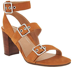 Vionic Orthotic Leather Block-Heel Sandals -Carmel