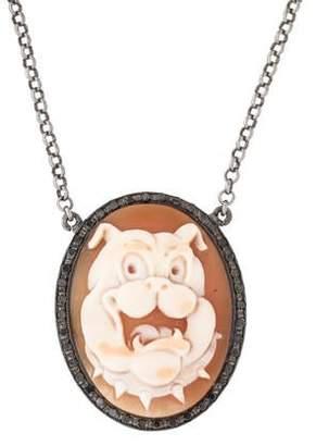 Amedeo Diamond & Bulldog Cameo Pendant Necklace