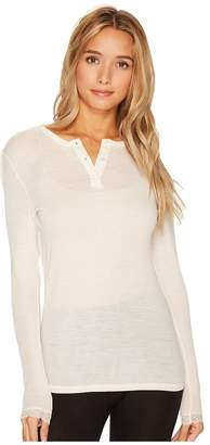 Hanro Woolen Lace Long Sleeve Henley Women's Clothing