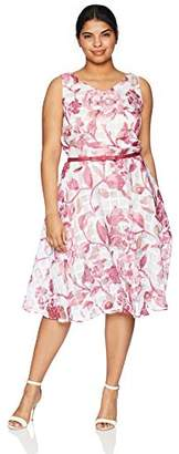 Julian Taylor Women's Plus Size V-Neck Burnout Floral Sleeveless Dress