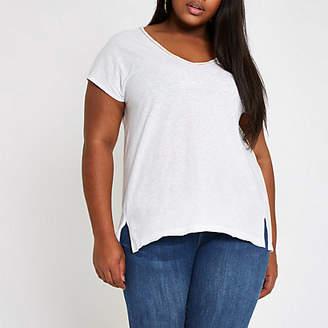 River Island Plus white rhinestone neck embellished T-shirt