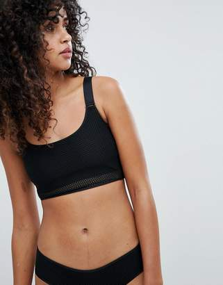 Weekday Cropped Soft Bra with Mesh Trim