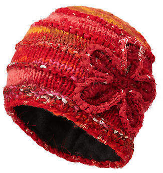 Joe Browns Womens Knitted Lined Beanie Hat with Flower