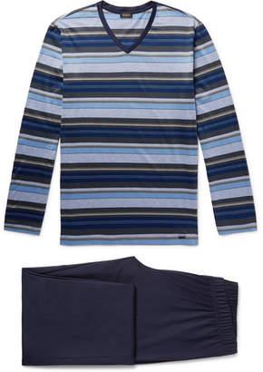 Hanro Jolan Mercerised Striped Cotton-Jersey Pyjama Set - Men - Storm blue