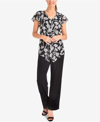 NY Collection Ruffle-Sleeve Printed Top