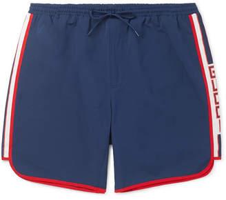 7b1629434c Gucci Short-Length Grosgrain-Trimmed Swim Shorts