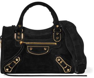 Balenciaga - Classic Metallic Edge City Mini Suede Shoulder Bag - Black $1,455 thestylecure.com