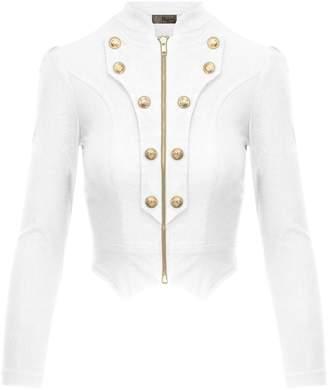 07df541d13a at Amazon Canada · Hybrid Women s Military Crop Stretch Gold Zip up Blazer  Jacket KJK1125X