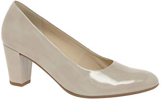 Gabor Ruthin Wide Fit Block Heeled Court Shoes, Sand Leather