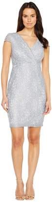 Sangria Short Sleeve V-Neck Metallic Lace Sheath Women's Dress