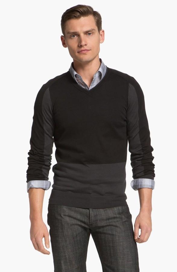 Z Zegna Colorblock Sweater Black Large