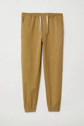 H&M Cotton Twill Joggers - Beige