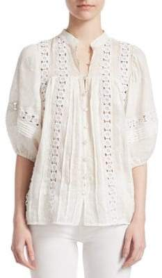 Zimmermann Castille Embroidered Linen Blouse