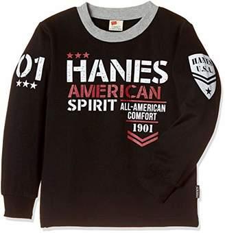 Hanes (へインズ) - [ヘインズ] 子供服 スウェットシャツ HX8771 [ジュニア] ボーイズ ブラック 日本 130 (日本サイズ130 相当)