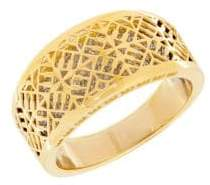 Lord & Taylor 14K PDC Yellow Gold and Rhodium Webbed Designed Pierced Ring