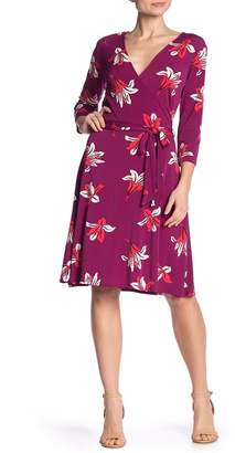 Leota Print 3/4 Sleeve Faux Wrap Dress