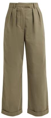 Katharine Hamnett London - Camilla Pleated Wide Leg Cotton Twill Trousers - Womens - Khaki