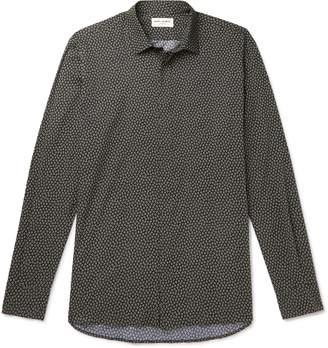 Saint Laurent Printed Cotton-Poplin Shirt - Men - Black
