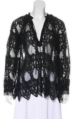 Zadig & Voltaire Mesh Embroidered Blouse
