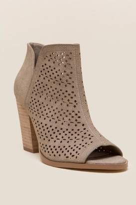 Restricted Winery Laser Cut Peep Toe Shootie - Taupe