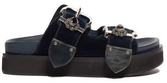 Alexander McQueen Buckled Flatform Velvet Sandals - Womens - Navy Silver