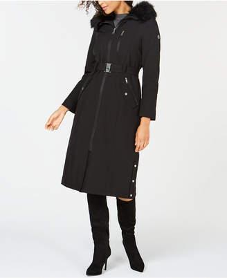 Calvin Klein Hooded Faux-Fur-Trim Maxi Raincoat