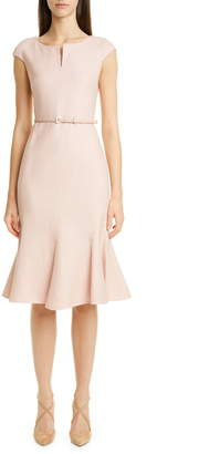Max Mara Otaria Flounce Hem Silk, Linen & Wool Dress
