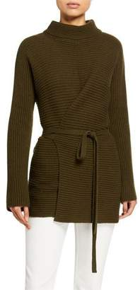 Vince Long-Sleeve Tie-Front Wool Tunic