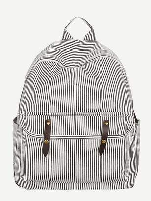 Shein Striped Canvas Backpack
