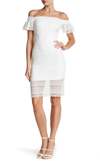bebe Lace Off-the-Shoulder Short Sleeve Dress