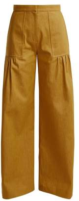Duro Olowu - High Rise Wide Leg Cotton Denim Trousers - Womens - Dark Yellow