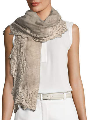 Faliero Sarti L'Acessorio Maddina Wool-Blend Lace-Trim Scarf