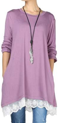 Mordenmiss Women's Tops Lace Tunics Long Sleeve Blouse with Pockets L