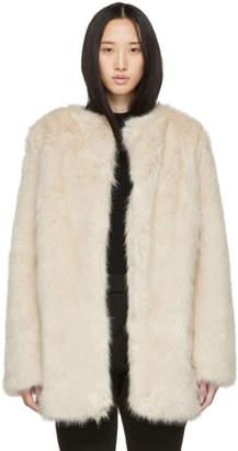 Helmut Lang Beige Faux-Fur Coat