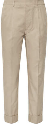 Ami Slim-Fit Tapered Pleated Cotton-Gabardine Trousers