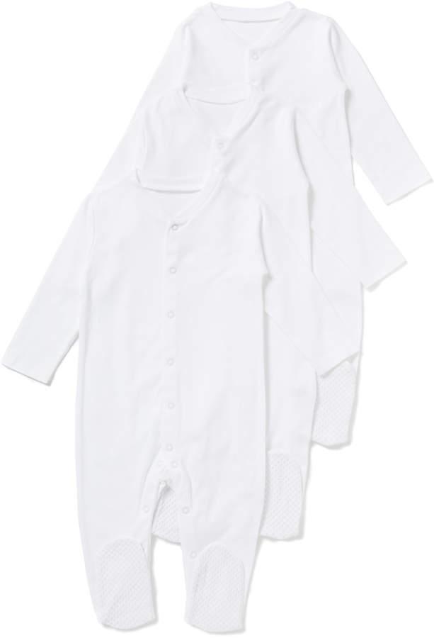 Tu Clothing 3 Pack White Long Sleeve Sleepsuits