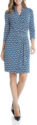 Karen Kane Cascade Faux Wrap Geo Print Dress $138 thestylecure.com